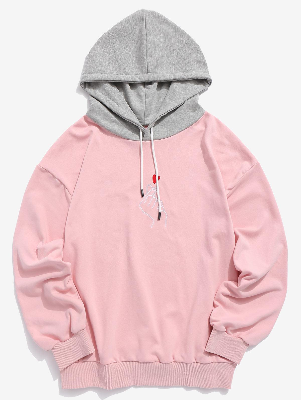 ZAFUL Hand Heart Embroidered Colorblock Hoodie