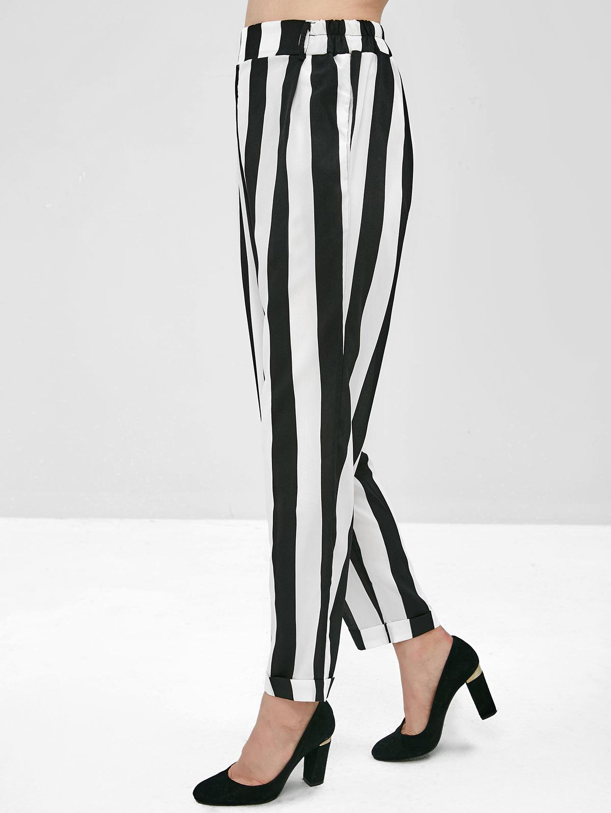 Hip Pockets High Waisted Striped Tapered Pants фото
