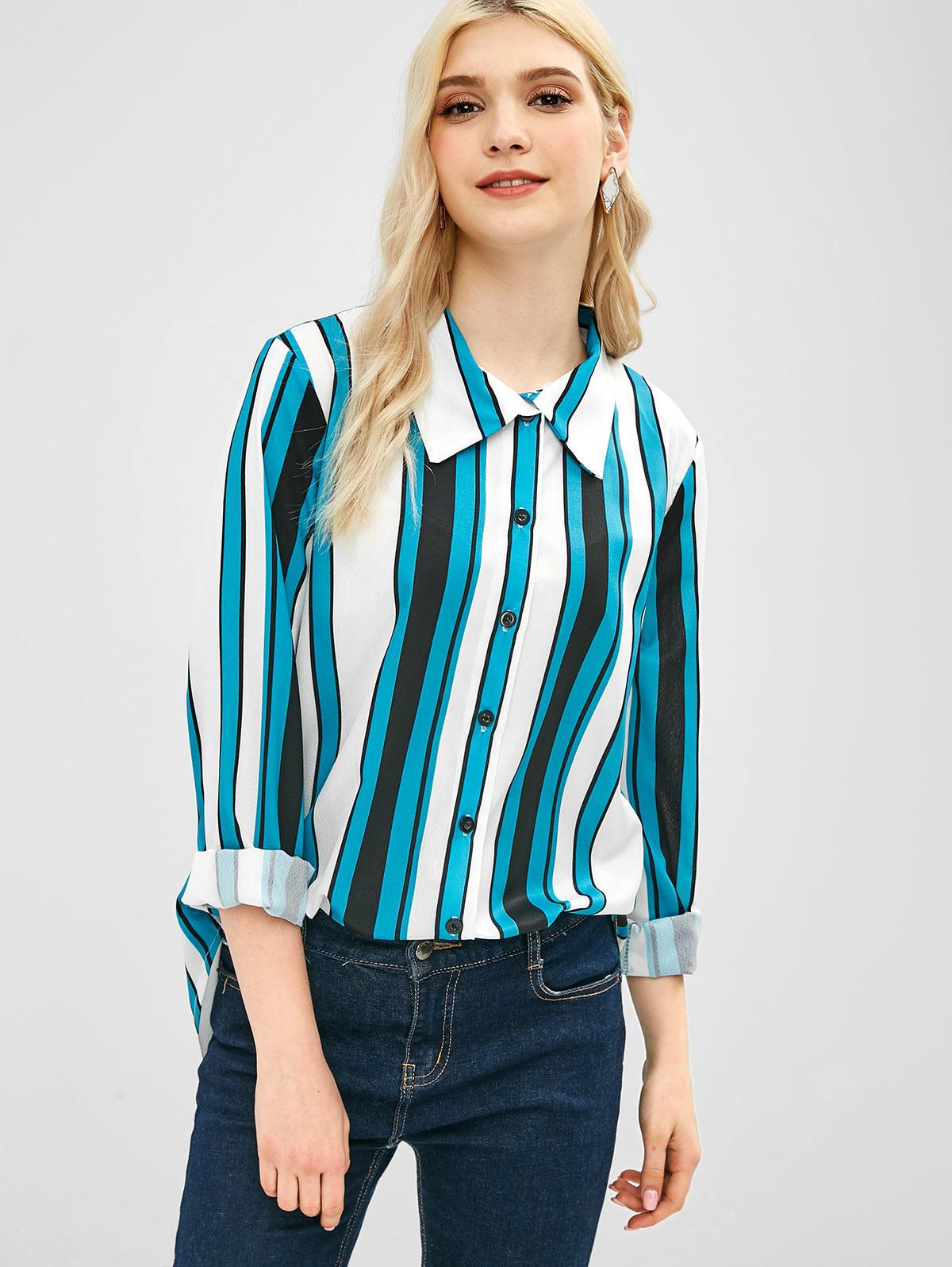 Button Up Striped Tunic Blouse
