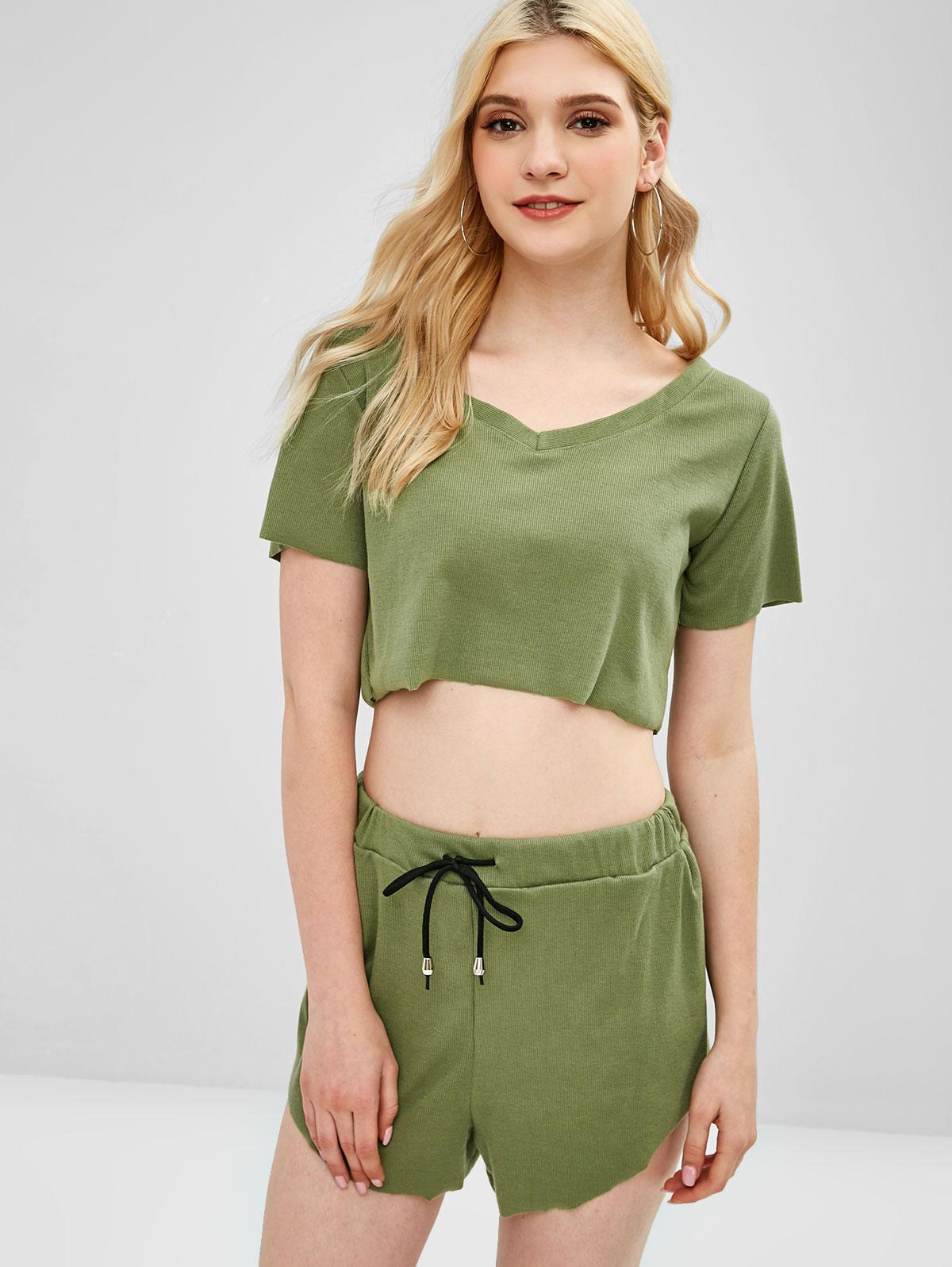 Ribbed Sporty Crop Tee and Shorts Two Piece Set, Camouflage green