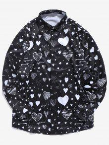 الحب إلكتروني طباعة زر مخفي قميص - أسود L