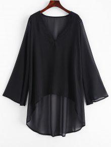 فستان شيفون عالٍ منخفض ضد التستر - أسود