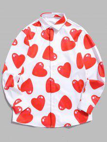 قميص بطبعات قلوب 3D Red Love - أبيض 2xl