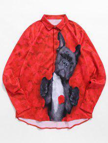 كلب الكذب في قميص الزهور المطبوعة - الحمم الحمراء 2xl