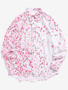 الحانات الملونة طباعة زر المخفية طويلة الأكمام قميص الحب - خنزير وردي 2xl