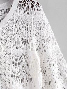 858a364820c 23% OFF  2019 Lace Up Scalloped Crochet Beach Dress In WHITE