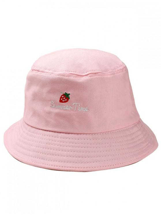 4299c53169e1c 26% OFF  2019 Strawberry Embroidered Bucket Hat In PINK