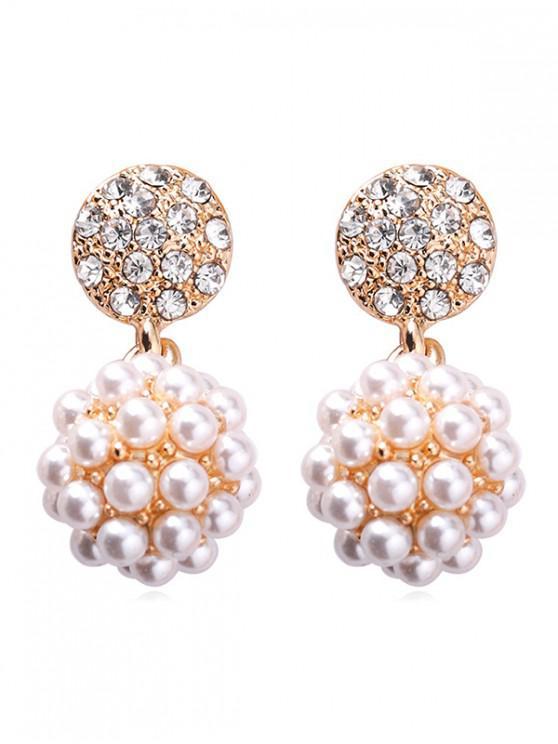 sale Pearl Ball Rhinestone Round Dangle Earrings - WHITE
