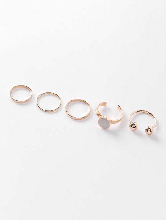 Alloy Simple Round Finger Ring Set - Ouro