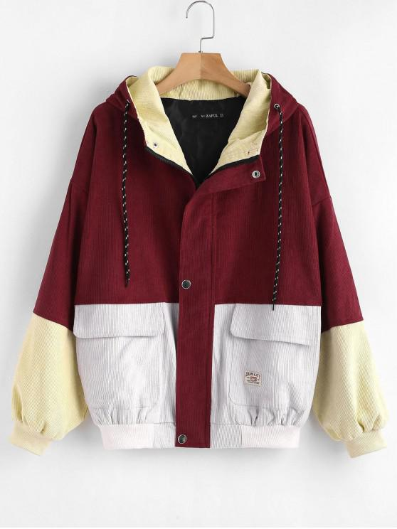 trendy Hooded Color Block Corduroy Jacket - CHERRY RED L