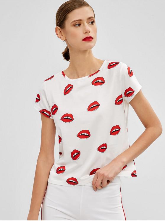 Camiseta de manga corta con estampado de labios ZAFUL - Blanco S