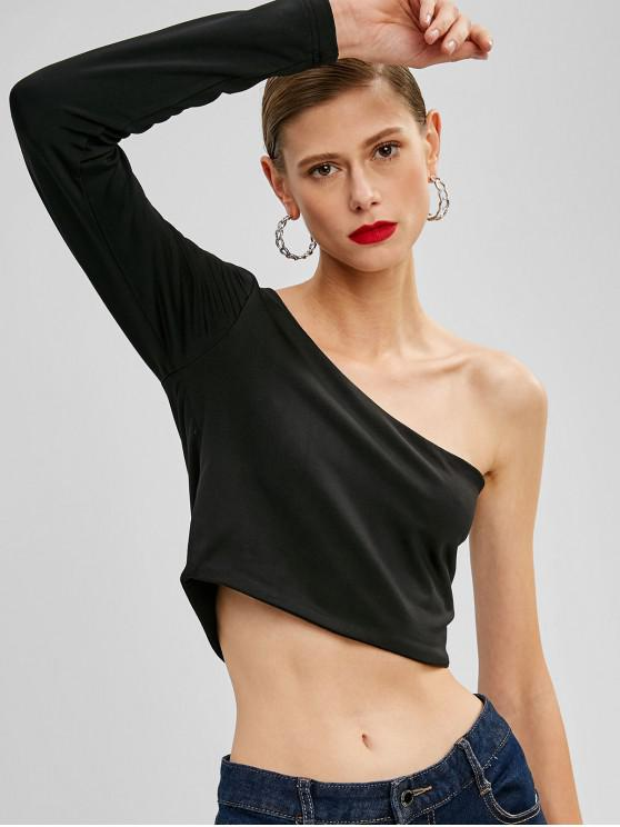 2e9c6d9ddc7ce2 43% OFF] 2019 ZAFUL Cropped One Shoulder Top In BLACK | ZAFUL