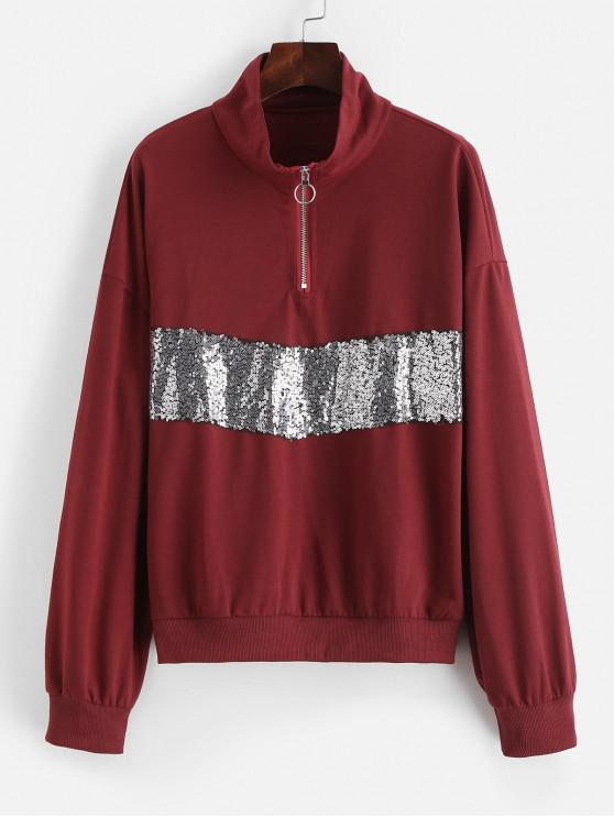 outfits Half Zip Drop Shoulder Sequined Sweatshirt - RED WINE S