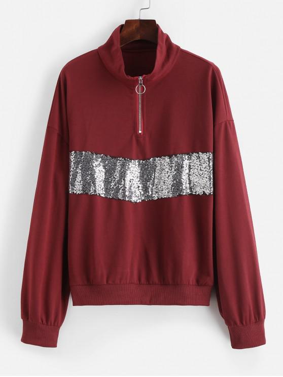 unique Half Zip Drop Shoulder Sequined Sweatshirt - RED WINE L
