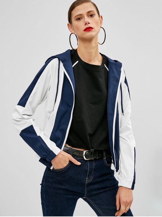 shop Color Block Drawstring Hooded Jacket - DEEP BLUE S