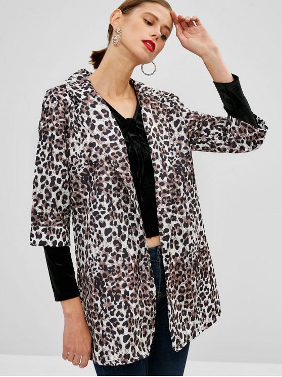 Langer Leopard Mantel mit offener Vorderseite - Leopard XL
