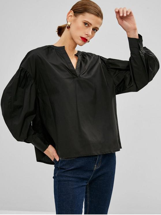 trendy Puff Sleeve Blouse - BLACK S