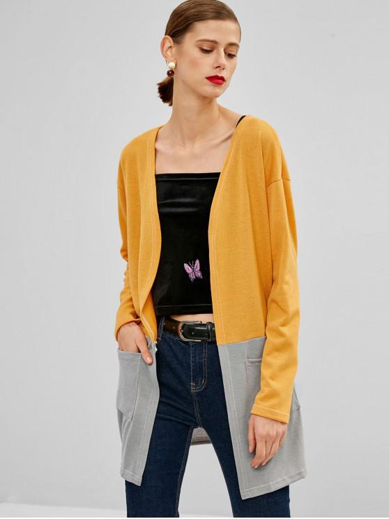 outfit Two Tone Open Front Cardigan - YELLOW XL