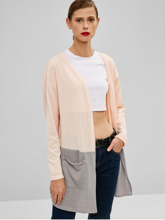 shop Two Tone Open Front Cardigan - PINK M