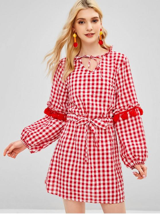 shop Drawstring Plaid Tassels Casual Dress - RED L