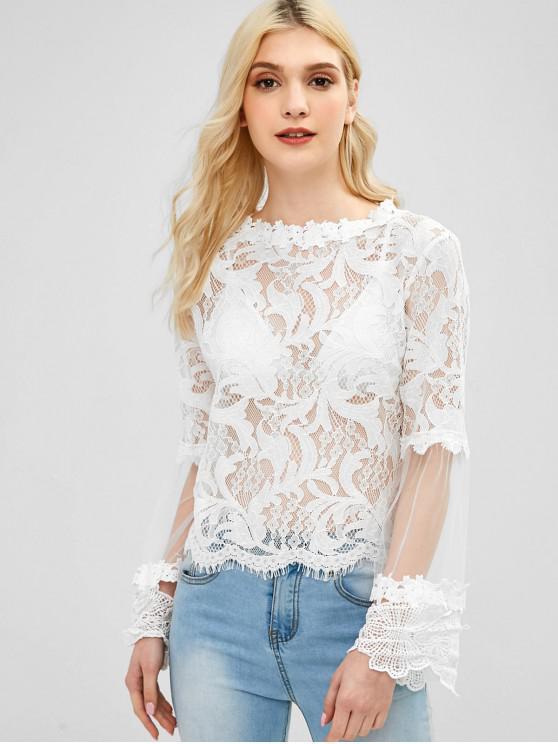 hot Sheer Mesh Panel Lace Blouse - WHITE M