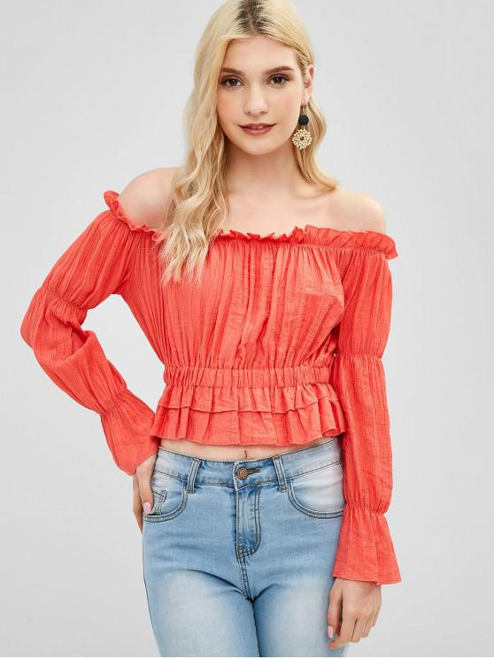 women Ruched Frilled Off The Shoulder Blouse - BEAN RED M