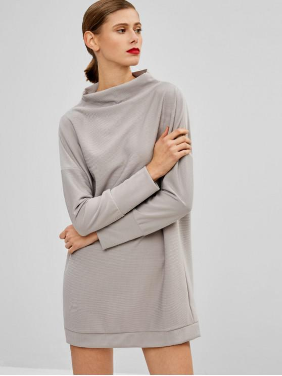 outfit Plain Long Sleeve Casual Dress - GRAY S