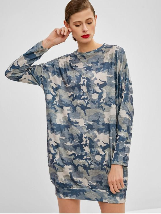 shop Long Sleeve Camouflage Casual Dress - ACU CAMOUFLAGE S