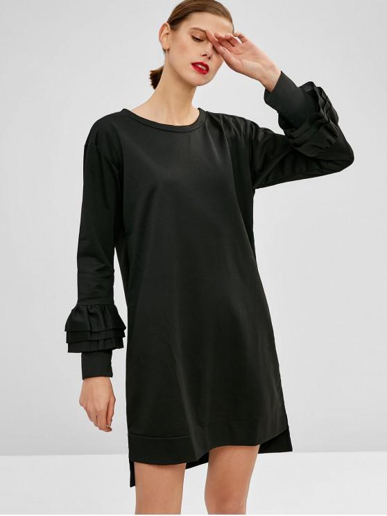 unique Slit High Low Casual Dress - BLACK S