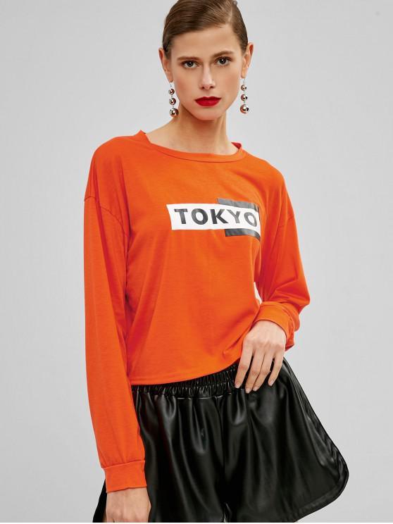 women's Drop Shoulder Graphic Letter Sweatshirt - ORANGE XL