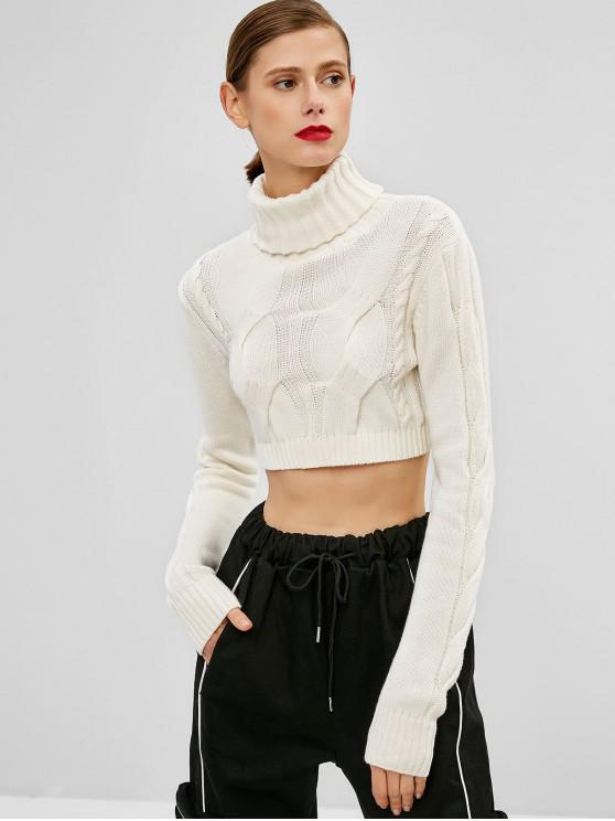 new Cable Knit Turtleneck Crop Sweater - WHITE ONE SIZE