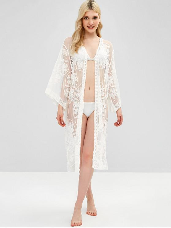 ad89520ed6f6 21% OFF  2019 Lace Tie Front Beach Cover Up In WHITE