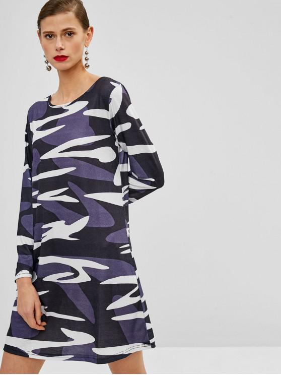 Mini Vestito Di Camouflage Con Maniche Lunghe - Camouflage Deserto Digitale  L