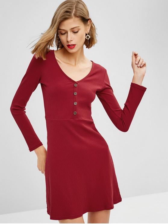 V Neck com nervuras manga comprida Mini Dress - Vinho Tinto M