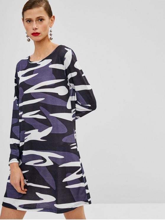 buy Long Sleeves Camouflage Mini Dress - DIGITAL DESERT CAMOUFLAGE M