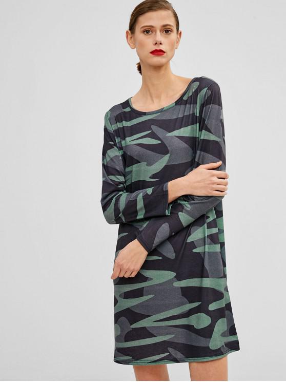 women Long Sleeves Camouflage Mini Dress - WOODLAND CAMOUFLAGE L