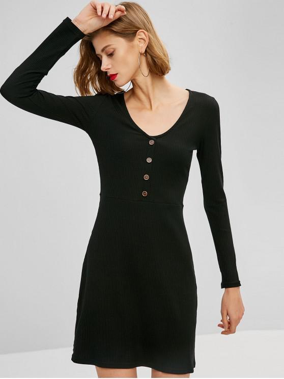 outfit V Neck Ribbed Long Sleeve Mini Dress - BLACK S