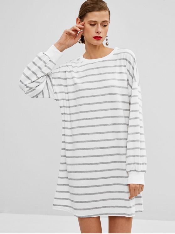 buy Striped Drop Shoulder Sweatshirt Dress - WHITE M