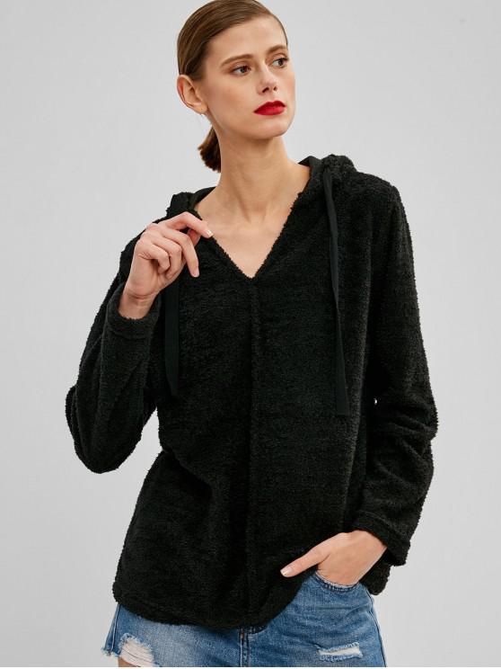 affordable Drawstring Fluffy Plain Teddy Hoodie - BLACK M