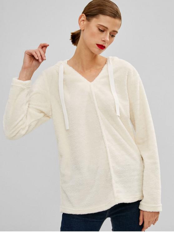 women Drawstring Fluffy Plain Teddy Hoodie - WARM WHITE M