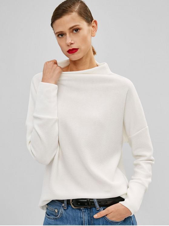 chic Mock Neck Plain Drop Shoulder Sweatshirt - WHITE M