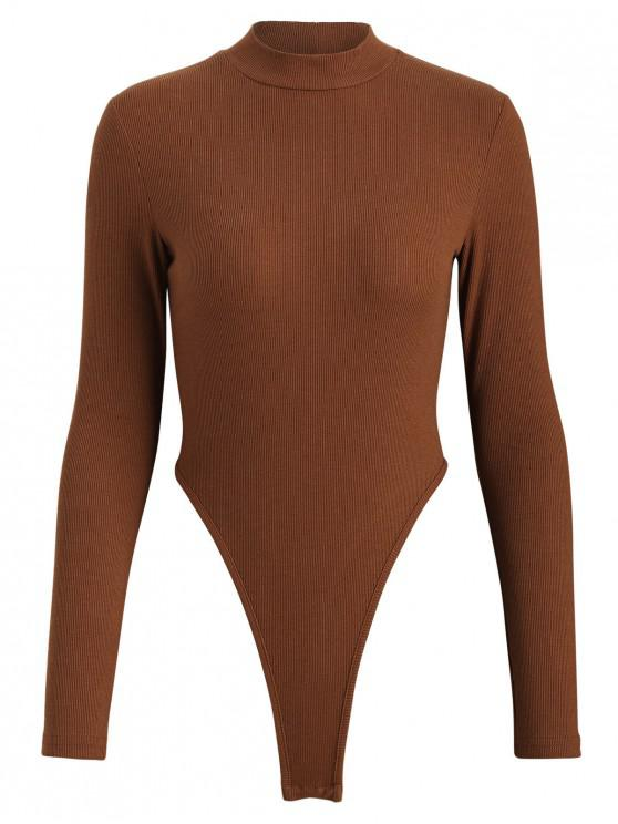 Bodysuit mit geripptem Tanga-Verschluss - Sepia L