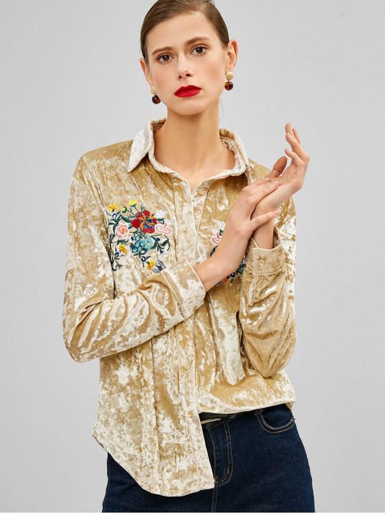womens Flower Embroidered Velvet Shirt - GOLD M