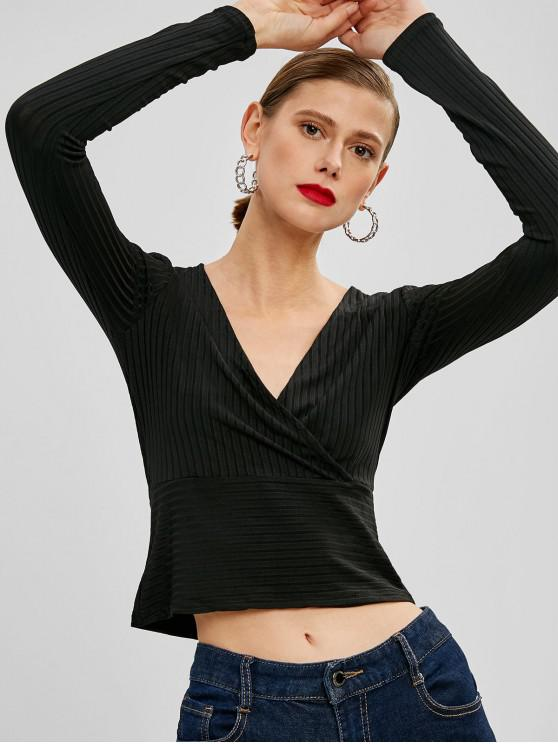 fancy Crossover Ribbed Top - BLACK S
