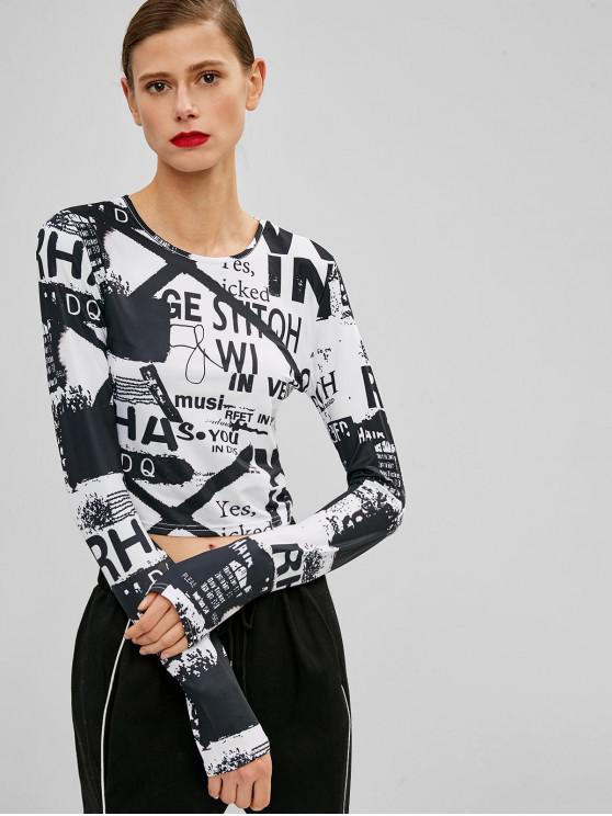 affordable Letter Print Cropped Tee - BLACK XL
