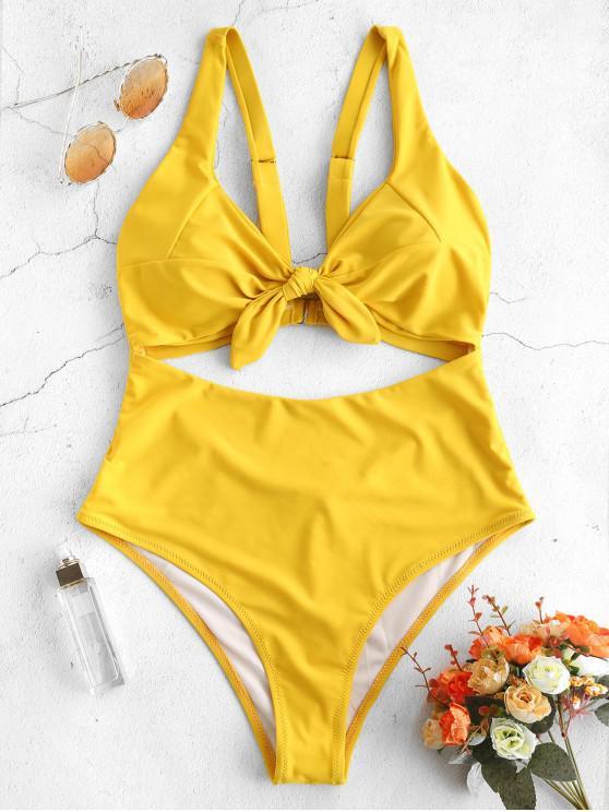 buy ZAFUL Knot Cutout One Piece Swimsuit - SUN YELLOW XL