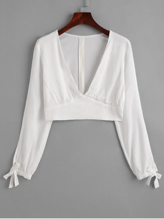 hot ZAFUL V Neck Knotted Cropped Top - MILK WHITE S