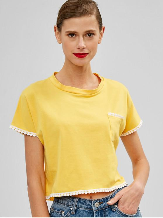 latest Chest Pocket Crochet Trim Cropped Tee - YELLOW S