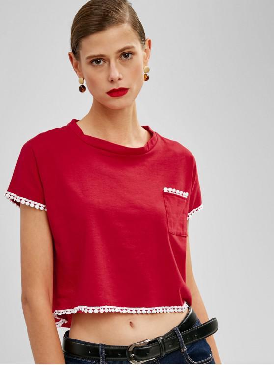 Brust Tasche Häkel Trim Geschnittenes T Shirt - Rot M