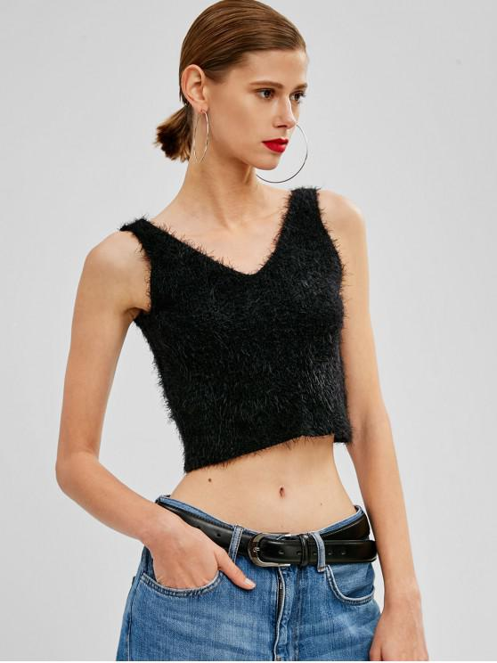 sale V Neck Textured Knitted Tank Top - BLACK S